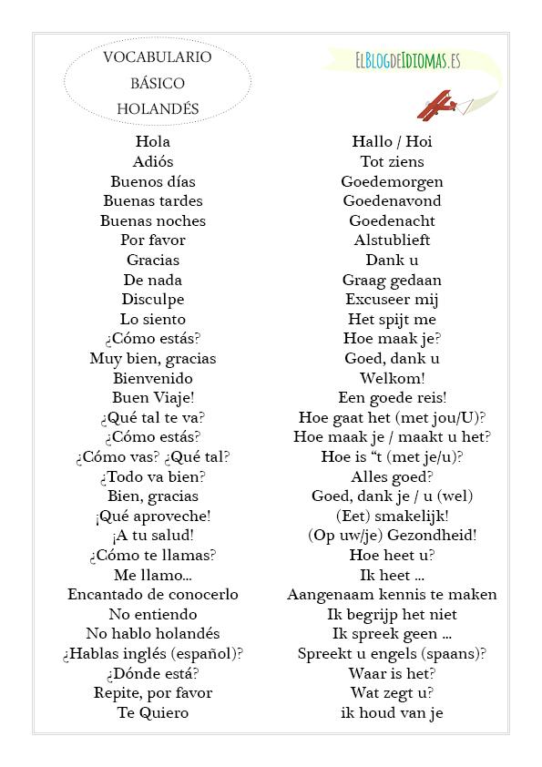 vocabulario basico holandés